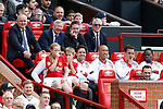 Sir Alex Ferguson enjoying his time back in the managers seat during the Michael Carrick Testimonial match at the Old Trafford Stadium, Manchester. Picture date: June 4th 2017. Picture credit should read: Simon Bellis/Sportimage