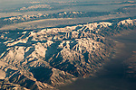 Aerial view over mountains in winter in the Great Basin, Nevada
