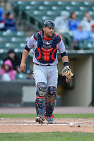 Columbus Clippers catcher Omir Santos #11 during a game against the Rochester Red Wings on May 12, 2013 at Frontier Field in Rochester, New York.  Rochester defeated Columbus 5-4.  (Mike Janes/Four Seam Images)