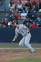 Nick Vilter (8) of the Tri-City Dust Devils bats during a game against the Vancouver Canadians at Nat Bailey Stadium on July 23, 2015 in Vancouver, British Columbia. Tri-City defeated Vancouver, 6-4. (Larry Goren/Four Seam Images)
