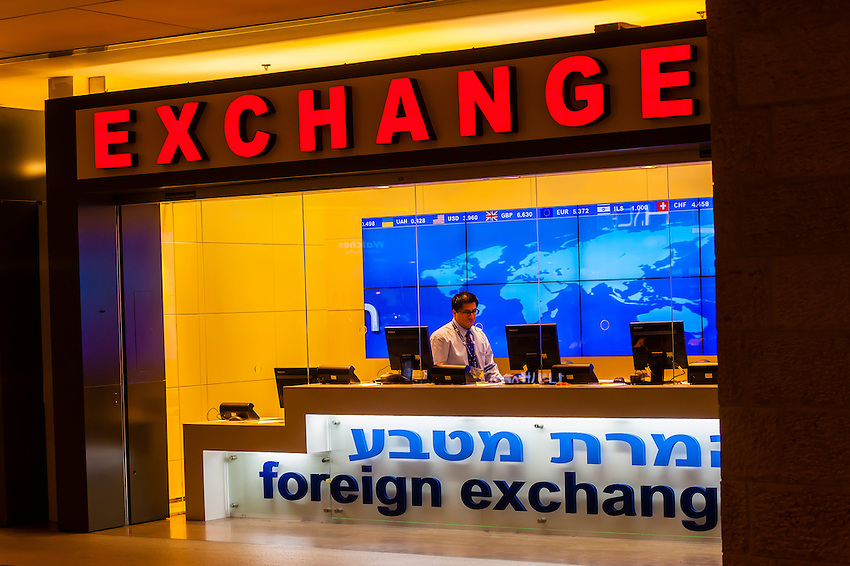 Foreign exchange dealer, Duty Free Rotunda, Ben Gurion International Airport, Israel.