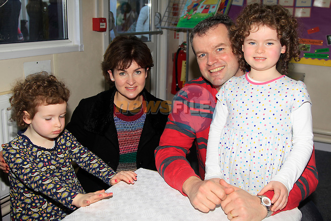 S&iacute;ofra, &Eacute;adaoin, Conor and Caolfhionn McAloon during the Christmas Fair at Gaelscoil an Bhradain Feasa, Mill Road, Mornington on Sunday 23rd November 2014.<br /> Picture:  Thos Caffrey / www.newsfile.ie