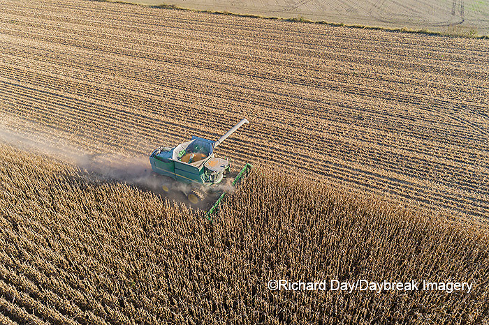 63801-13104 Harvesting corn in fall-aerial  Marion Co. IL