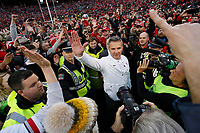 Ohio State Buckeyes head coach Urban Meyer high fives a fan following the NCAA football game against the Michigan Wolverines at Ohio Stadium in Columbus on Nov. 24, 2018. Ohio State won 62-39. [Adam Cairns/Dispatch]