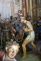 Sacro Monte di Orta cappella XIII°: San frencesco si fa condurre nudo per le vie di Assisi per umiltà..Orta Sacred Mountain