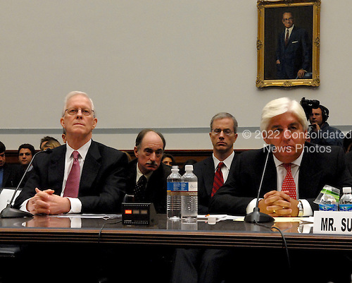"Washington, D.C. - October 7, 2008 -- Robert B. Willumstad, former Chief Executive Officer, AIG, left, and Martin J. Sullivan, former Chief Executive Officer, AIG, right give testimony before the United States House  Committee on Oversight and Government Reform hearing on ""The Causes and Effects of the AIG Bailout"" in the Rayburn House Office Building on Tuesday, October 7, 2008..Credit: Ron Sachs / CNP.(RESTRICTION: NO New York or New Jersey Newspapers or newspapers within a 75 mile radius of New York City)"