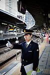 Tokyo, October 17 2011 - Shinkansen (Japanese bullet train) at Tokyo station.