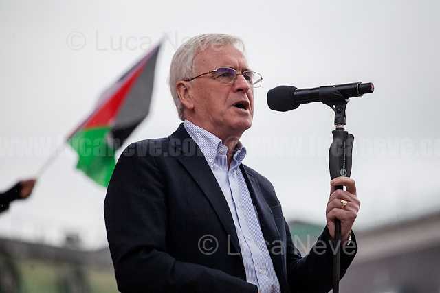 John McDonnell MP (Labour Member of Parliament for Hayes and Harlington and Shadow Chancellor).<br /> <br /> London, 01/05/2017. Thousands of people marched in central London to celebrate the International Workers' Day. The rally started in Clerkenwell Green and ended in Trafalgar Square where numerous speakers gave speeches in defence of worker's rights, in protest against Theresa May Conservative Government spending cuts and policies, and in support and solidarity with the other demonstrations across the globe. Main speaker of the event was John McDonnell MP, Labour Member of Parliament for Hayes and Harlington and Shadow Chancellor.