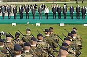 """Strasbourg, France - April 4, 2009 -- NATO Heads of State and Government during the tribute to the NATO military personnel for service in operational theatres of the Alliance after crossing the """"Passerelle de deux rives"""" from Germany into France on Saturday, April 4, 2009..Mandatory Credit: NATO via CNP"""