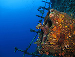 Orchid Island, Taiwan -- Steel structure on a slanted side of the Ba Dai ship wreck.