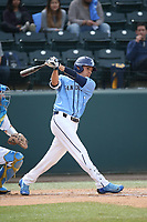 Jeff Houghtby (7) of the University of San Diego Toreros bats against the UCLA Bruins at Jackie Robinson Stadium on March 4, 2017 in Los Angeles, California.  USD defeated UCLA, 3-1. (Larry Goren/Four Seam Images)