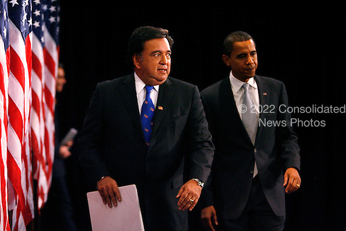 Chicago, IL - December 3, 2008 -- United States President-elect Barack Obama (L) and Secretary of Commerce designee and New Mexico Governor Bill Richardson enter the room before  addressing reporters at news conference in Chicago on December 3, 2008. .Credit: Brian Kersey - Pool via CNP