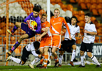 Blackpool's Owen Watkinson challenges Derby County's Bradley Foster-Theniger<br /> <br /> Photographer Alex Dodd/CameraSport<br /> <br /> The FA Youth Cup Third Round - Blackpool U18 v Derby County U18 - Tuesday 4th December 2018 - Bloomfield Road - Blackpool<br />  <br /> World Copyright &copy; 2018 CameraSport. All rights reserved. 43 Linden Ave. Countesthorpe. Leicester. England. LE8 5PG - Tel: +44 (0) 116 277 4147 - admin@camerasport.com - www.camerasport.com