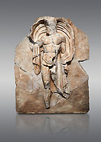 Roman Sebasteion relief sculpture of the god Okeanos (Ocean), Aphrodisias Museum, Aphrodisias, Turkey. <br /> <br /> The bearded of Okeanos makes an epiphany, controlling his cloak which billows around his head. Ocean would be paired with Earth: together they represented empire without end, over land and sea