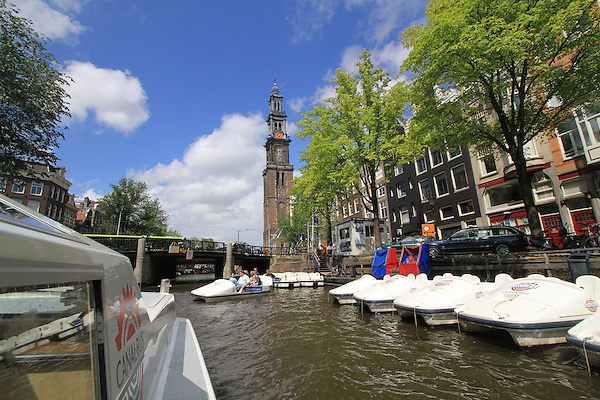Canal tour boats in Amsterdam, Holland, Netherlands.