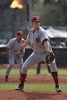 Boston College pitcher Eric Stevens #22 on the mound during a game against the University of Virginia Cavaliers at Watson Stadium at Vrooman Field on February 17, 2012 in Conway, SC.  Boston College defeated Virginia 5-3.  (Robert Gurganus/Four Seam Images)