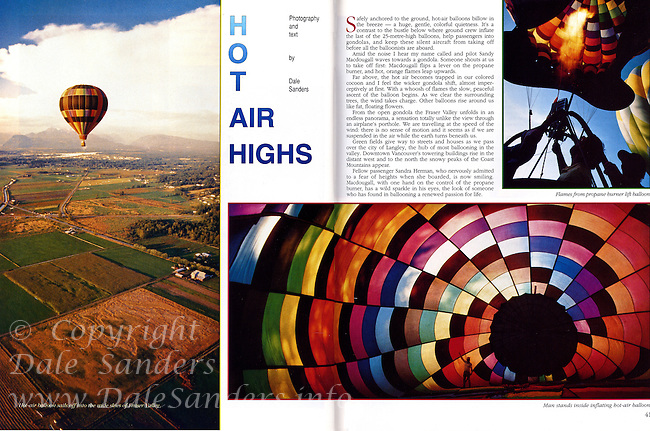 "Beautiful British Columbia Magazine Cover Story on ""Hot Air Highs"" - Ballooning in BC's Fraser Valley, written and photographed by Dale Sanders.  2000 Word Article and Photos."
