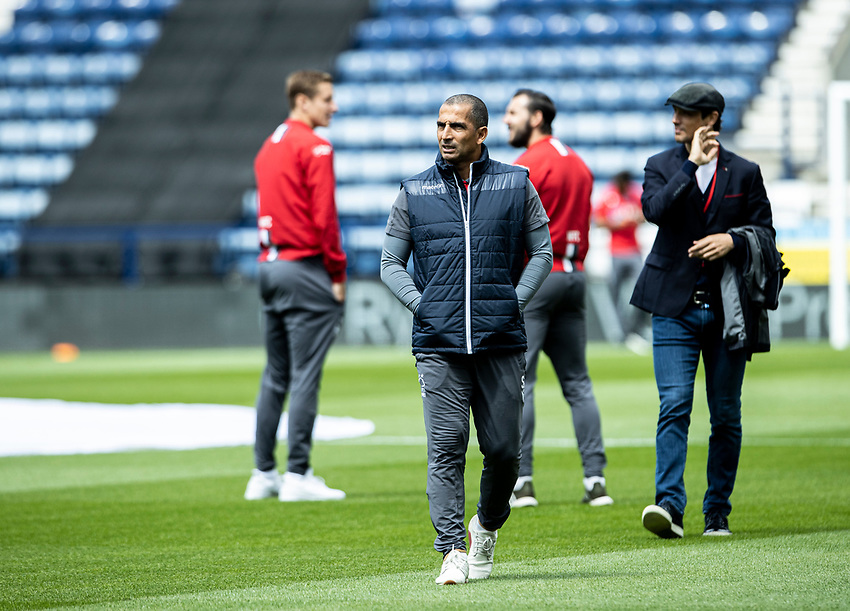 Nottingham Forest's manager Sabri Lamouchi inspecting the pitch before the match <br /> <br /> Photographer Andrew Kearns/CameraSport<br /> <br /> The EFL Sky Bet Championship - Preston North End v Nottingham Forest - Saturday 11th July 2020 - Deepdale Stadium - Preston <br /> <br /> World Copyright © 2020 CameraSport. All rights reserved. 43 Linden Ave. Countesthorpe. Leicester. England. LE8 5PG - Tel: +44 (0) 116 277 4147 - admin@camerasport.com - www.camerasport.com