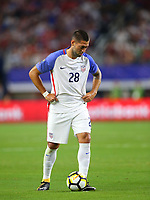 ARLINGTON, TEXAS - Saturday July 22, 2017: Clint Dempsey #28 of USMNT in action against the Costa Rica National Team in the second half of the match at AT&T Stadium.