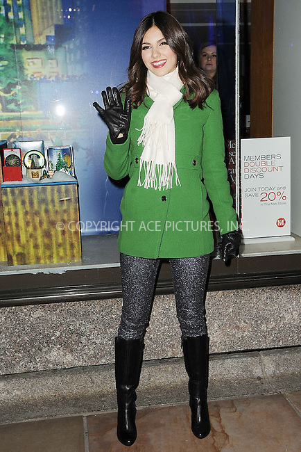 WWW.ACEPIXS.COM . . . . . .November 28, 2012...New York City...Victoria Justice at the 80th Annual Rockefeller Center Christmas Tree Lighting Ceremony on November 28, 2012 in New York City ....Please byline: KRISTIN CALLAHAN - ACEPIXS.COM.. . . . . . ..Ace Pictures, Inc: ..tel: (212) 243 8787 or (646) 769 0430..e-mail: info@acepixs.com..web: http://www.acepixs.com .