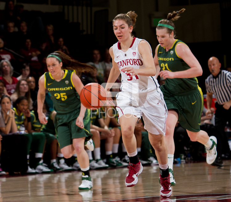 STANFORD, CA - February 26, 2011:  Toni Kokenis on a fast break in Stanford's 99-60 victory over Oregon at Stanford, California on February 26, 2011.