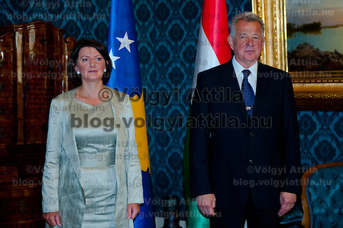 Atifete Jahjaga (L) president of the Republic of Kosovo and Pal Schmitt (R) and her Hungarian counterpart have a sight-viewing together in Budapest, Hungary on September 14, 2011. ATTILA VOLGYI