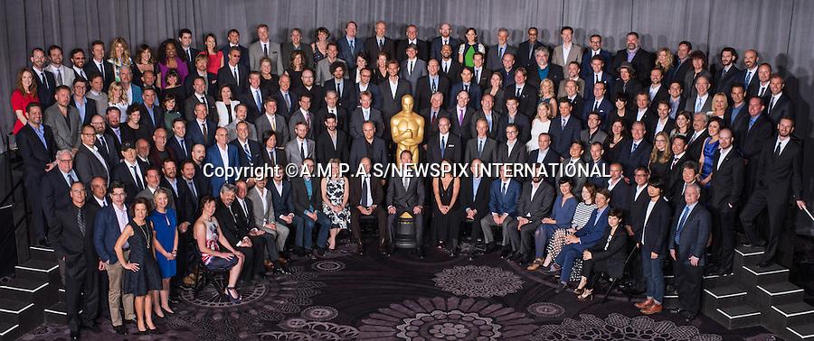 02.02.2015; Beverly Hills, California: 87TH OSCAR NOMINEES LUNCHEON<br /> Nominees for the 87th Oscars&reg;  attend the annual Nominees Luncheon that honours this year's contenders for the Oscars, at the Beverly Hilton, Beverly Hills, Los Angeles<br /> Awards for outstanding film achievements of 2014 will be presented on Oscar Sunday, February 22, 2015, at the Dolby Theatre&reg; at Hollywood &amp; Highland Center&reg;, Los Angeles.<br /> Picture Shows (from left to right):<br /> Seated: Kristina Reed, Ian Hunter, David Lancaster, Mat Kirkby, Christopher Hees, Graham Annable, Bonnie Arnold, Robert Duvall, Host Neil Patrick Harris, Elizabeth Yianni-Georgiou, Richard King, Gregg Rudloff, Barney Pilling, Aneta Kopacz, Emma Stone, Jason Blum, and Mathilde Bonnefoy.<br /> First Row: Ronan Blaney, Ellen Goosenberg Kent, Cathleen Sutherland, Gary Dennis Liddiard, Jr., Russell Earl, Teddy Schwarzman, Nicolas Aithadi, E. Max Frye, Ben Wilkins, Dice Tsutsumi, J. Christian Jensen, Julien F&eacute;ret, Dirk Wilutzky, Andrew DeCristofaro, Dan Gilroy, Keven McAlester, Oded Binnun, Robert Kondo, Anthony Stacchi, Jeremy Dawson, Aaron Glascock, Hu Wei and Bub Asman.<br /> Second Row: Daniel Sudick, Gary Fettis, Gregg Alexander, Gregg W Landaker, Brent Burge, Ido Ostrowsky, Erik Winquist, Patrick Osborne, Adam Stockhausen, Craig Mann, John Lesher, Tim Crosbie, Robert Yeoman, Paul Franklin, Hans Zimmer, Travis Knight, Rosamund Pike, Jason Hall, Tomm Moore, Laura Poitras, Daniel Barrett, Helen Estabrook, Yoshiaki Nishimura, and Isao Takahata.<br /> Third Row: John T Reitz, James Lucas, Andrew Lockley, Thomas Curley, Mihal Brezis, Peter Morgan, Felicity Jones, Jonathan Fawkner, Colleen Atwood, Robert Lorenz, Michael Keaton, J&oacute;hann J&oacute;hannsson, Armando Bo, Andrey Zvyagintsev, Dami&aacute;n Szifron, Roy Conli, Jeremy Kleiner, Torill Kove, Dan DeLeeuw, Rory Kennedy, Joel E Cox, Hugo Guinness, Diane Warren, Bill Corso, Stefan Eichenberger, Nora Grossman, Alan Robert Murray, Talk