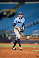 Simon Rosenblum-Larson (27) gets ready to deliver a pitch during the Tampa Bay Rays Instructional League Intrasquad World Series game on October 3, 2018 at the Tropicana Field in St. Petersburg, Florida.  (Mike Janes/Four Seam Images)
