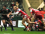 4th November 2017, Welford Road, Leicester, England; Anglo-Welsh Cup, Leicester Tigers versus Gloucester;  Ben White spins the ball out wide to his Gloucester back-line
