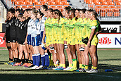 3rd February 2019, Spotless Stadium, Sydney, Australia; HSBC Sydney Rugby Sevens; New Zealand versus Australia; Womens Final; Australia sing their national anthem