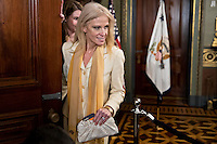 Kellyanne Conway, senior advisor to United States President Donald Trump, arrives to attend a swearing in of Betsy DeVos, U.S. Secretary of Education, not pictured, in the Vice President's Ceremonial Office in Washington, D.C., U.S., on Tuesday, Feb. 7, 2017. DeVos squeaked through a history-making Senate confirmation vote to become U.S. education secretary, as Vice President Mike Pence broke a 50-50 tie and Republicans staved off last-minute defections that would have killed her nomination. Photo Credit: Andrew Harrer/CNP/AdMedia