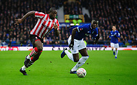 Lincoln City's John Akinde vies for possession with Everton's Kurt Zouma<br /> <br /> Photographer Chris Vaughan/CameraSport<br /> <br /> Emirates FA Cup Third Round - Everton v Lincoln City - Saturday 5th January 2019 - Goodison Park - Liverpool<br />  <br /> World Copyright &copy; 2019 CameraSport. All rights reserved. 43 Linden Ave. Countesthorpe. Leicester. England. LE8 5PG - Tel: +44 (0) 116 277 4147 - admin@camerasport.com - www.camerasport.com