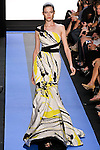 Yulia walks runway in a brushstroke faille asymmetric draped trumpet gown with sequin band, by Monique Lhuillier, from the Monique Lhuillier Spring 2012 collection fashion show, during Mercedes-Benz Fashion Week Spring 2012.