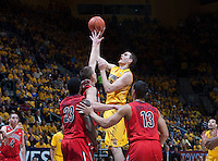 David Kravish of California shoots the ball at Haas Pavilion in Berkeley, California on February 1st, 2014.  California Golden Bears defeated Arizona Wildcats, 60-58.