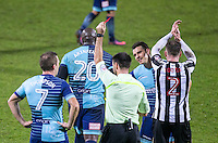 Adebayo Akinfenwa of Wycombe Wanderers is shown red card during the Sky Bet League 2 match between Notts County and Wycombe Wanderers at Meadow Lane, Nottingham, England on 10 December 2016. Photo by Andy Rowland.
