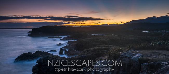 Dawn over Constant Bay in Charleston near Westport, Buller Region, West Coast, New Zealand, NZ