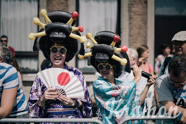 Japanese (?) fans at the start in Verviers<br /> <br /> 104th Tour de France 2017<br /> Stage 3 - Verviers › Longwy (202km)