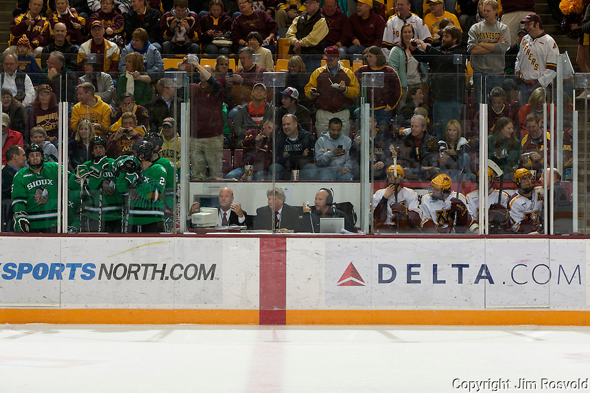 4 Nov 11: Nine players in the penalty box. The University of Minnesota Golden Gophers host the University of North Dakota Fighting Sioux in a WCHA matchup at Mariucci Arena in Minneapolis, MN.