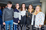 Enjoying the night out in the Greyhound Track on Friday night. L-r, Daniel O'Connell (Waterville), Katelyn Curran, Abbie O'Sullivan, Caitriona O'Sullivan and Grace O'Sullivan (Waterville).