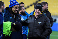 Blues head coach Tana Umaga chats with Hurricanes head coach Chris Boyd after the Super Rugby match between the Hurricanes and Blues at Westpac Stadium in Wellington, New Zealand on Saturday, 7 July 2018. Photo: Dave Lintott / lintottphoto.co.nz