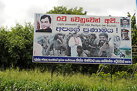 "Suedasien Asien Sri Lanka, Praesident Mahinda Rajapaksa feiert seinen Sieg gegen die LTTE Tamil Tiger auf Propaganda Plakaten landesweit | .South Asia Sri Lanka, President Mahinda Rajapaksa celebrates his victory in war against the LTTE tamil tigers on propaganda posters  .| [ copyright (c) Joerg Boethling / agenda , Veroeffentlichung nur gegen Honorar und Belegexemplar an / publication only with royalties and copy to:  agenda PG   Rothestr. 66   Germany D-22765 Hamburg   ph. ++49 40 391 907 14   e-mail: boethling@agenda-fototext.de   www.agenda-fototext.de   Bank: Hamburger Sparkasse  BLZ 200 505 50  Kto. 1281 120 178   IBAN: DE96 2005 0550 1281 1201 78   BIC: ""HASPDEHH"" ,  WEITERE MOTIVE ZU DIESEM THEMA SIND VORHANDEN!! MORE PICTURES ON THIS SUBJECT AVAILABLE!! ] [#0,26,121#]"