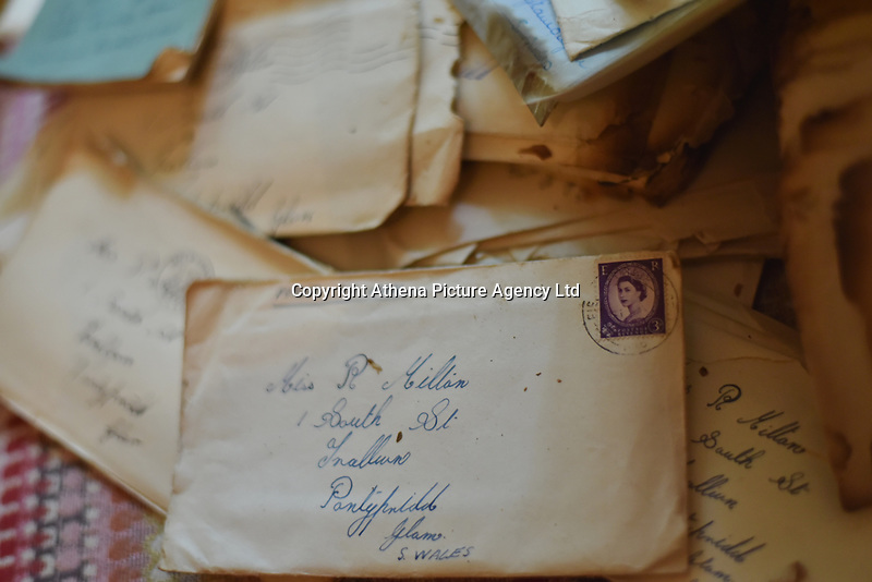 Pictured: Some of the letters Sarah Quick found under the floorboards in her house in Pontypridd.<br /> Re: Love letters sent between a young couple over 60 years ago have been found beneath the floorboards of a house by its new owners.<br /> Sarah Quick, 38, was renovating the old cottage that she lives at with her partner and daughter in Pontypridd, south Wales, when she discovered the bundles of letters.<br /> It turned out the letters were sent between a young couple called Rena and John and dated back to the 40s and 50s.<br /> Most of the letters were sent by John who was stationed at RAF stationed in Melksham while Rena was living with her mother in Pontypridd. They tell the tale of a couple at the beginning of a blossoming relationship but separated by circumstances.