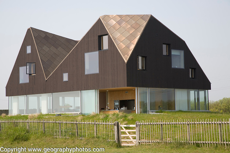 The Dune House, modern house by the beach at Thorpeness, Suffolk, England