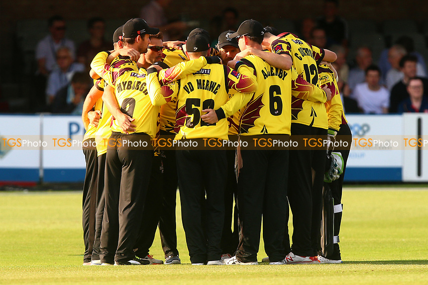 Somerset players huddle during Essex Eagles vs Somerset, NatWest T20 Blast Cricket at The Cloudfm County Ground on 13th July 2017