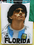 24 June 2006: A banner with Argentina legend Diego Maradona on it. Argentina (1st place in Group C) defeated Mexico (2nd place in Group D) 2-1 after extra time at the Zentralstadion in Leipzig, Germany in match 50, a Round of 16 game, in the 2006 FIFA World Cup.