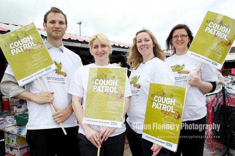 Pix: Shaun Flannery/shaunflanneryphotography.com...COPYRIGHT PICTURE>>SHAUN FLANNERY>01302-570814>>07778315553>>..10th May 2011...............NHS Barnsley..Cough Campaign. .The Cough Patrol, Goldthorpe Market.