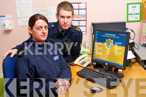 Garda Daniel Buckley and Garda Lisa Kearney of Traee Garda Station who have this week issued a warning on a computer scam purporting to be from Gardaí seeking payment of a fine for illegal accessing a website.