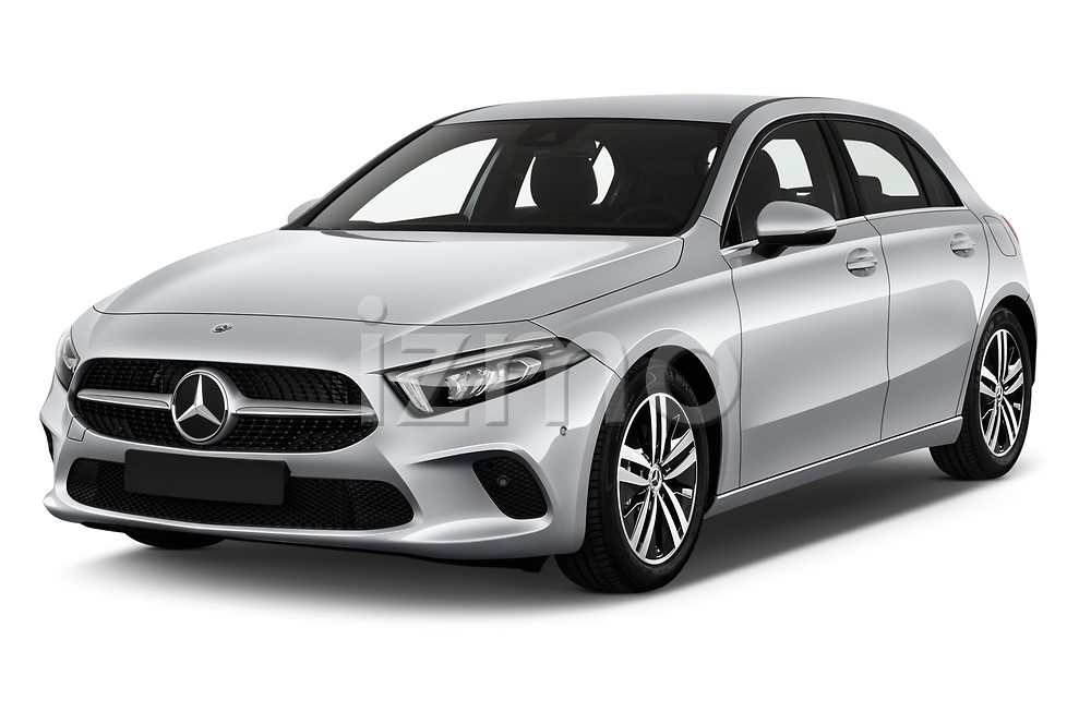 2019 Mercedes Benz A Class Progressive 5 Door Hatchback angular front stock photos of front three quarter view
