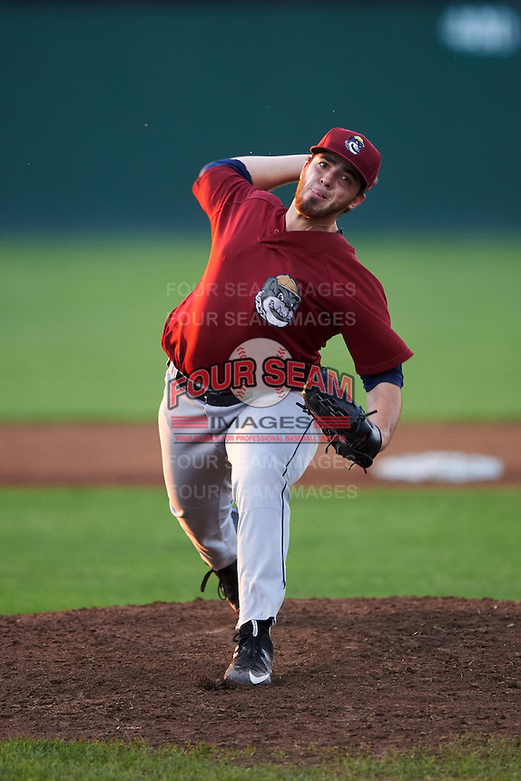 Mahoning Valley Scrappers starting pitcher Aaron Civale (7) during a game against the Batavia Muckdogs on August 19, 2016 at Dwyer Stadium in Batavia, New York.  Mahoning Valley defeated Batavia 9-2.  (Mike Janes/Four Seam Images)