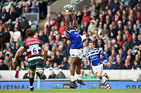 Beno Obano of Bath Rugby catches the ball. Gallagher Premiership match, between Leicester Tigers and Bath Rugby on May 18, 2019 at Welford Road in Leicester, England. Photo by: Patrick Khachfe / Onside Images